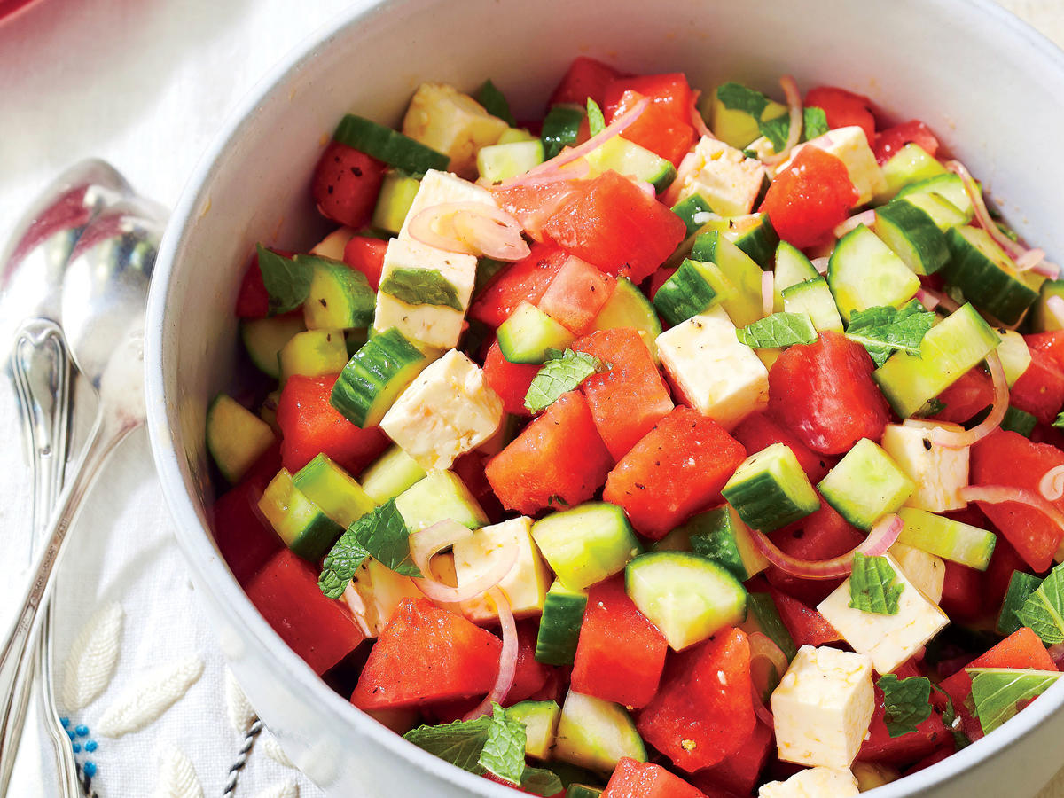 Watermelon Strawberry Cucumber Salad - Aberdeens Kitchen   Recipe   Summer salads, Cucumber